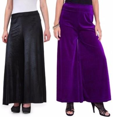 Viba London Regular Fit Women's Black, Purple Trousers