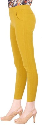 Remanika Skinny Fit Women's Yellow Trousers