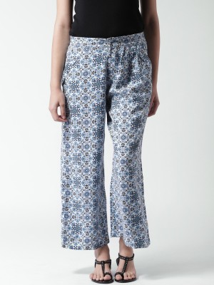 Mast & Harbour Regular Fit Women's White, Blue Trousers at flipkart