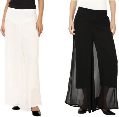 Lambency Regular Fit Women's White, Black Trousers
