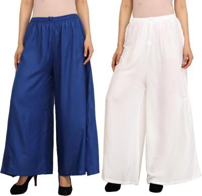 Guru Nanak Fashions Regular Fit Women's Blue, White Trousers