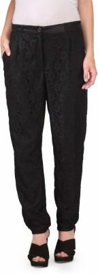 Natty India Slim Fit Women's Black Trousers
