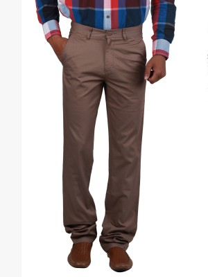 Cotton colors Regular Fit Men's Brown Trousers