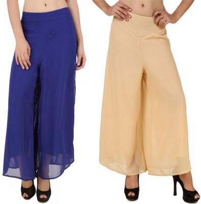 CHIKFAB Regular Fit Women's Blue, Beige Trousers