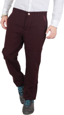 Wood Slim Fit Men's Maroon Trousers