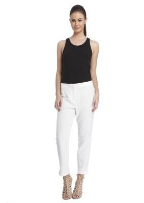 Only Regular Fit Women's White Trousers at flipkart
