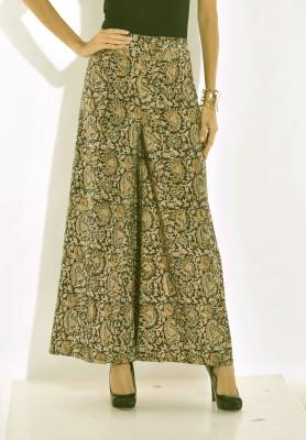 Desi Weaves Regular Fit Women's Black, Green Trousers