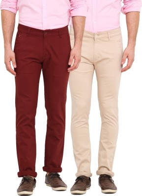 Dais Slim Fit Men's Red, Beige Trousers