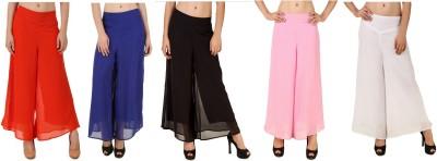 CHIKFAB Regular Fit Women's Blue, Black, Pink, Orange, White Trousers