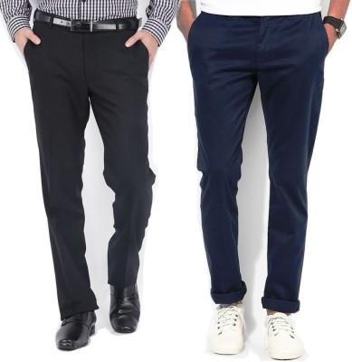 AD & AV Regular Fit Men's Dark Blue, Black Trousers