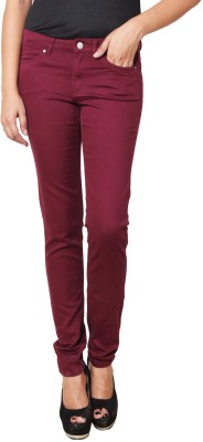 Prakum Slim Fit Women's Maroon Trousers