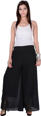 Pink Stone Regular Fit Women's Black Trousers
