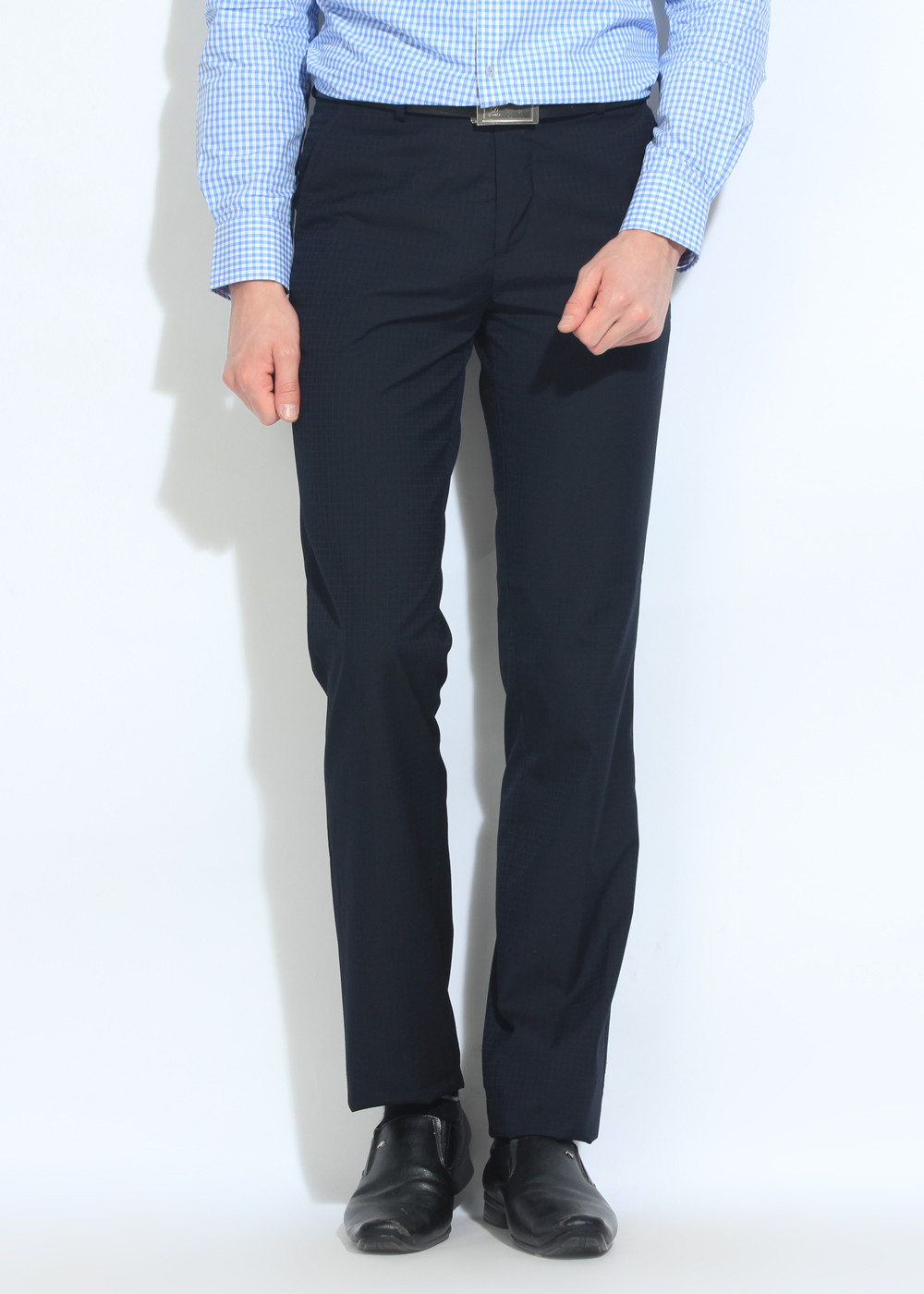 London Bridge Slim Fit Men's Dark Blue Trousers