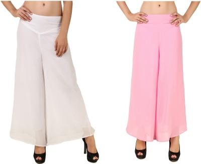 RoseBella Regular Fit Women's White, Pink Trousers