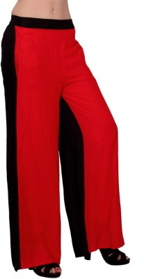 MSONS Regular Fit Women's Red, Black Trousers