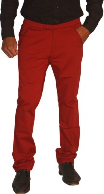 Madcaps Slim Fit Men's Maroon Trousers