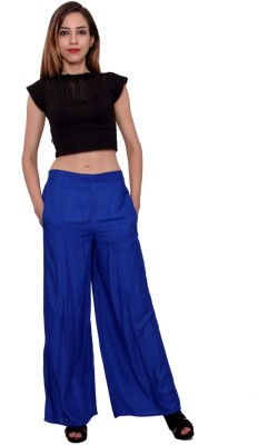MSONS Regular Fit Women's Blue Trousers