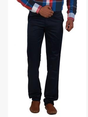 Cotton colors Regular Fit Men's Dark Blue Trousers