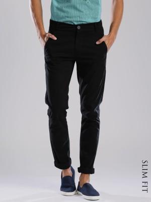 HRX by Hrithik Roshan Regular Fit Men's Black Trousers