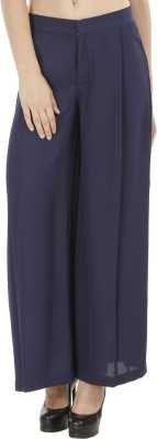 Fuziv Slim Fit Women's Blue Trousers