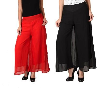 Kyron Regular Fit Women,s Black, Red Trousers