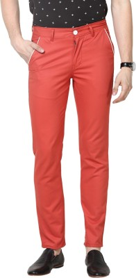Haute Couture Slim Fit Men's Red Trousers