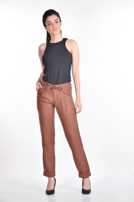 Aaina Home Decor Slim Fit Women's Brown Trousers