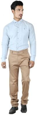0-Degree Regular Fit Men's Beige Trousers