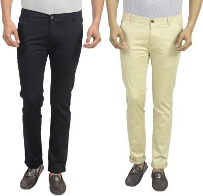 Masterly Weft Slim Fit Men's Black, Cream Trousers