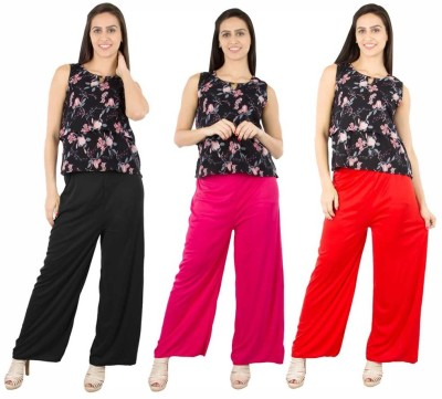 Fashion Flow+ Regular Fit Women's Black, Pink, Red Trousers