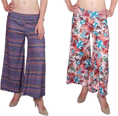 DAMEN MODE Regular Fit Women's Dark Blue, Multicolor Trousers