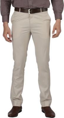 Zido Slim Fit Men's Cream Trousers