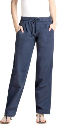 Loco En Cabeza Regular Fit Women's Linen Blue Trousers