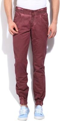 John Players Slim Fit Men's Maroon Trousers