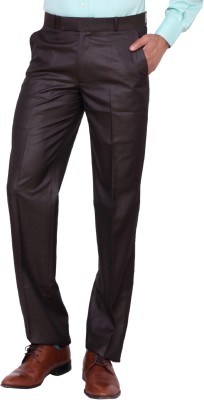 Matrix Slim Fit Men's Brown Trousers