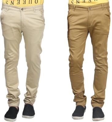 Trendy Trotters Regular Fit Men's Dark Green, Beige Trousers