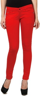 Madaam Slim Fit Women's Red Trousers