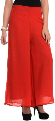 La Verite Regular Fit Women's Red Trousers