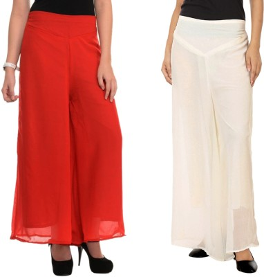 La Verite Regular Fit Women's Red, Cream Trousers