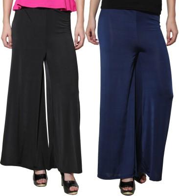 Both11 Regular Fit Women's Dark Blue, Black Trousers