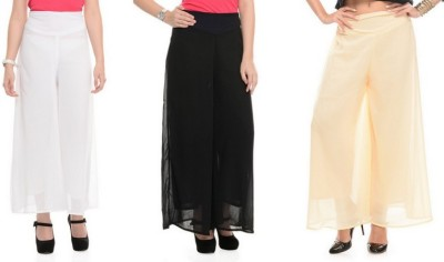 Stop Look Regular Fit Women Black, Beige, White Trousers at flipkart