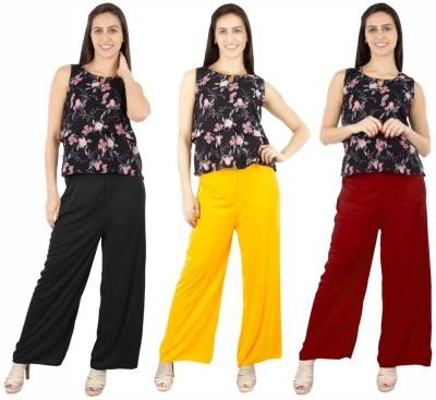 Fashion Flow+ Regular Fit Women's Black, Yellow, Maroon Trousers