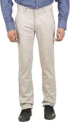 Ethzone Slim Fit Men's Cream Trousers