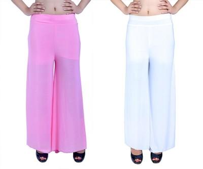 Ajaero Regular Fit Women's Pink, White Trousers