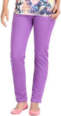 Hbhwear Slim Fit Women's Denim Purple Trousers