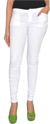 Fashion Club Slim Fit Women,s White Trousers