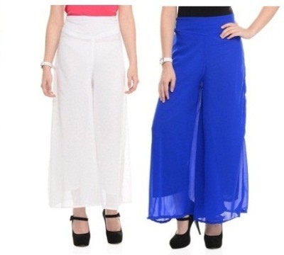 Edge Plus Regular Fit Women's White, Blue Trousers