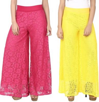 Guru Nanak Fashions Regular Fit Women's Pink, Yellow Trousers