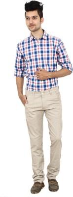 Carbon Slim Fit Men's Beige Trousers