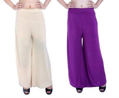 Ajaero Regular Fit Women's Gold, Purple Trousers